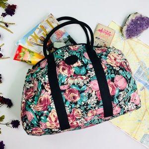 [Vintage] Floral Dual Strap Duffle Weekender Bag